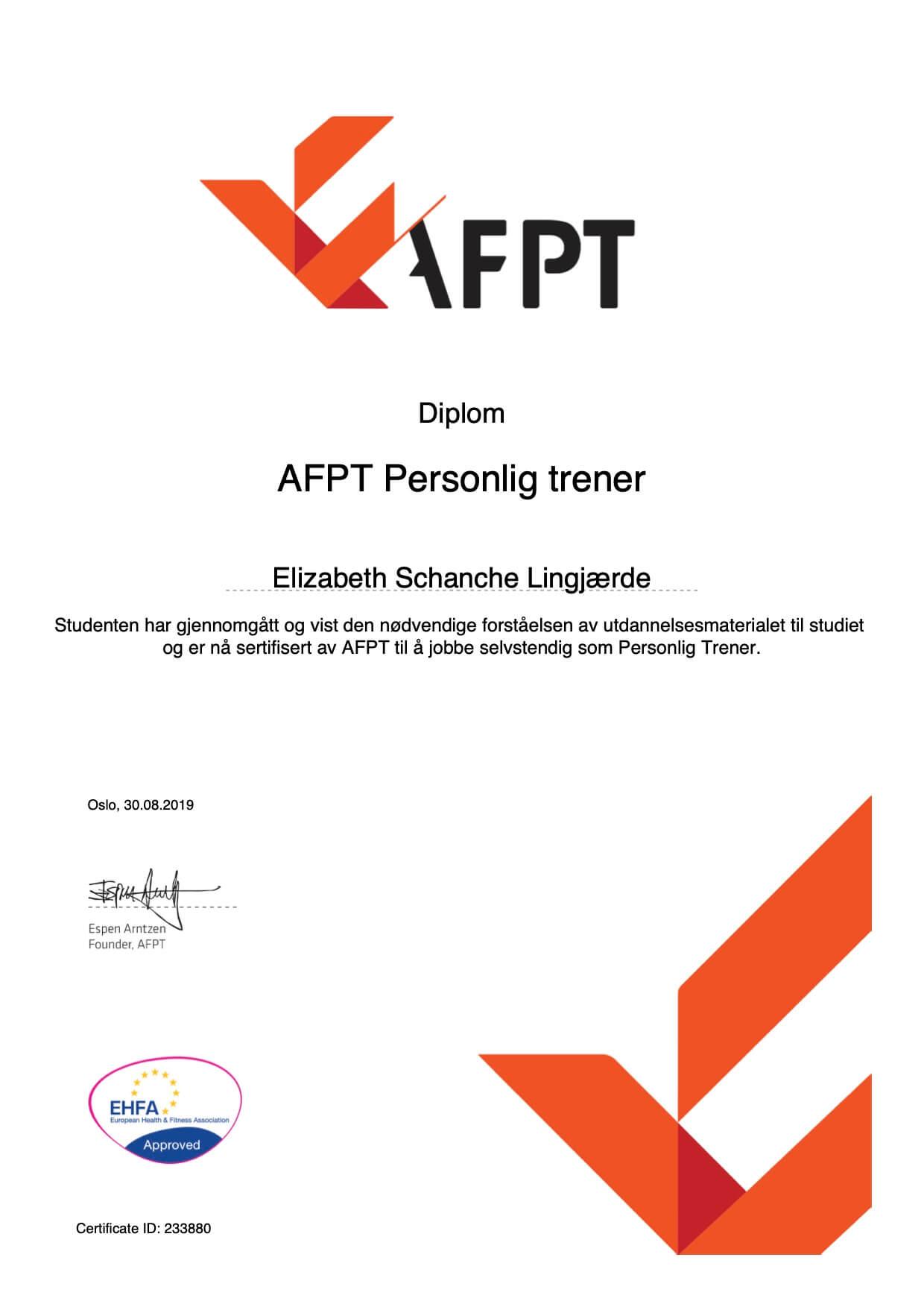 AFPT certificate